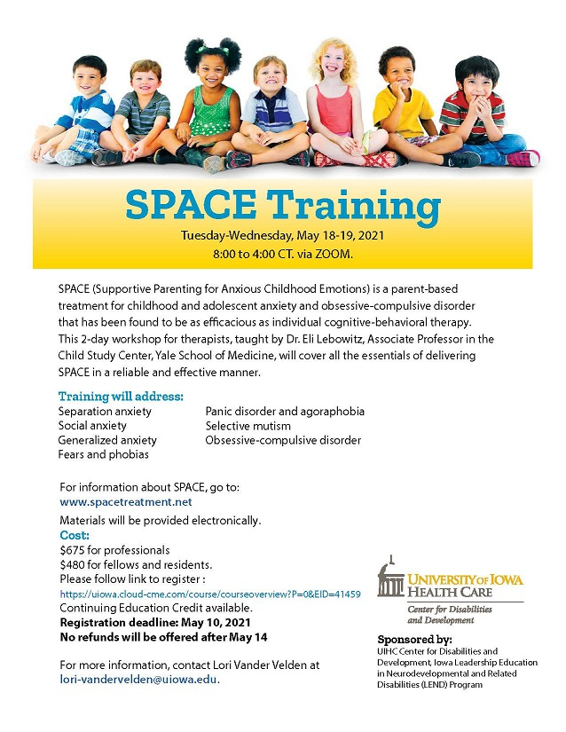 Supportive Parenting for Anxious Childhood Emotions (SPACE) Training Banner