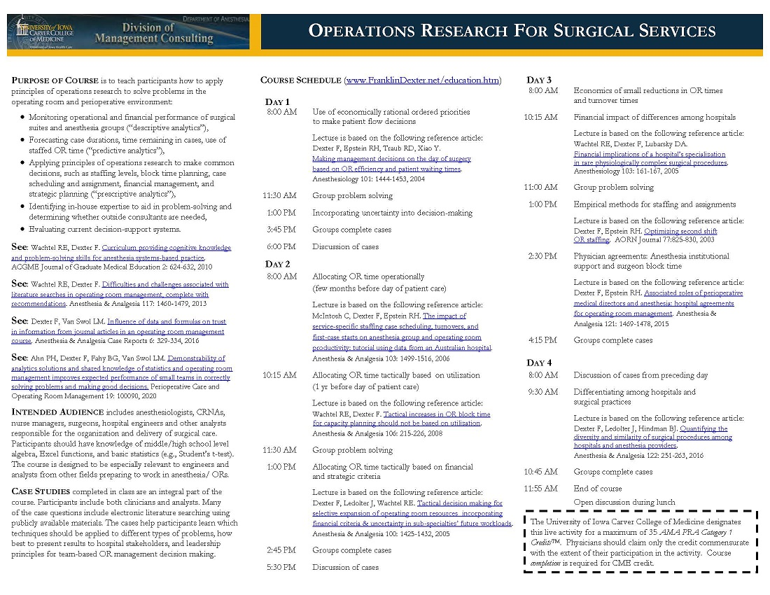 Operations Research for Surgical Services Banner