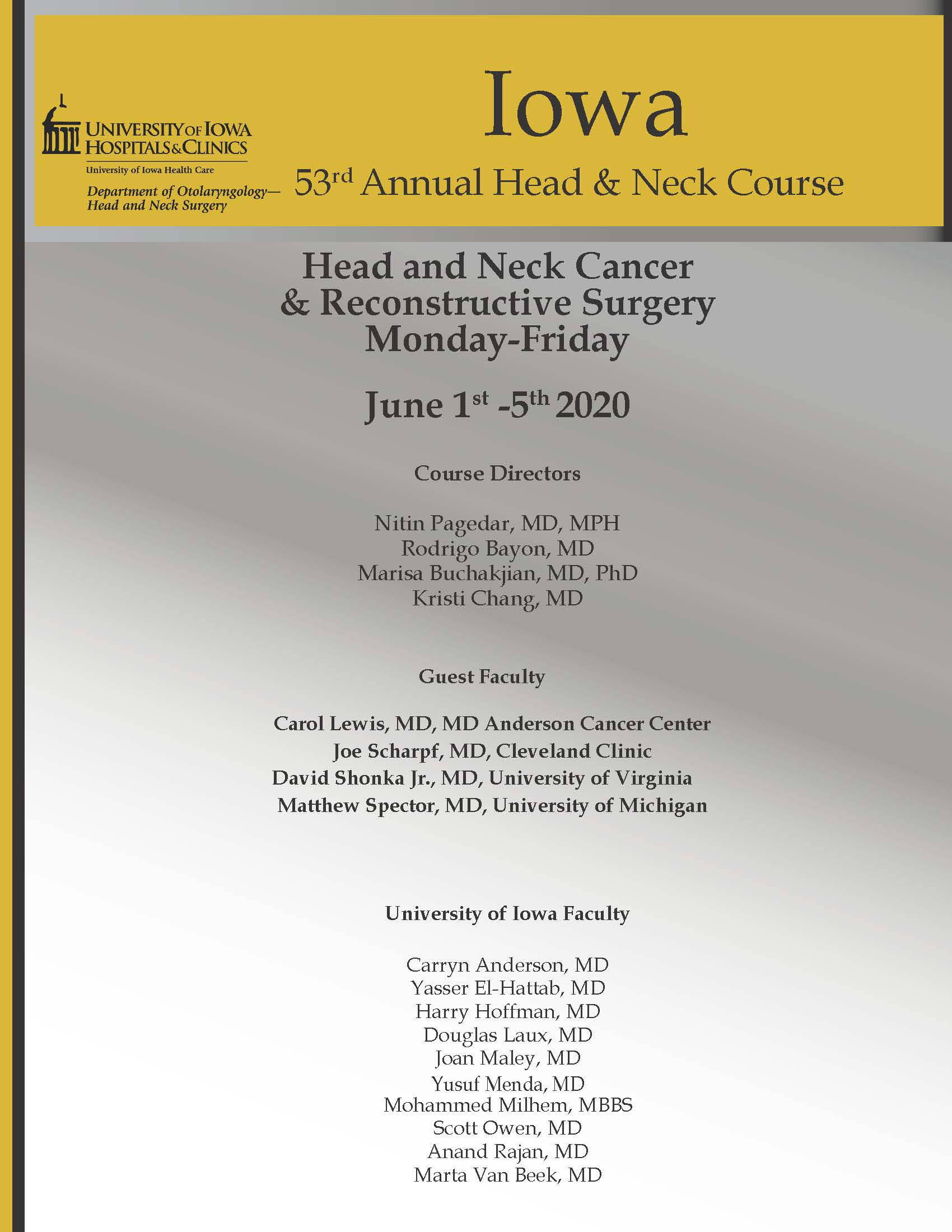 53rd Head and Neck Cancer and Reconstructive Surgery Center Banner